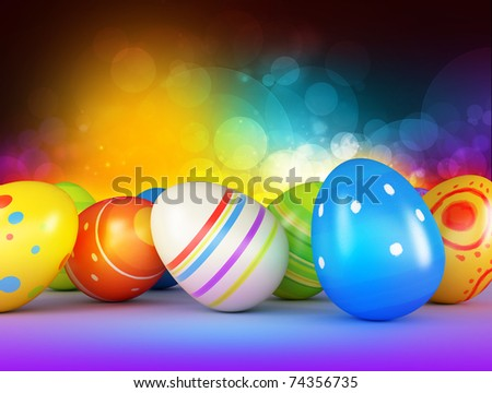 Easter eggs on a dark background - stock photo