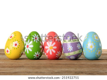 Easter eggs on a wooden background.  - stock photo