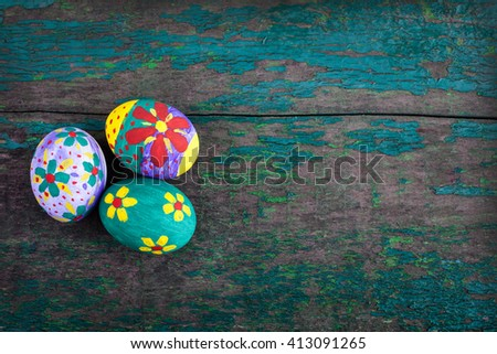 Easter eggs on background - stock photo