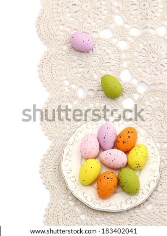 easter eggs on beautiful napkin  - stock photo