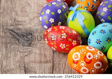 Easter eggs on the wooden table - stock photo