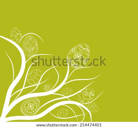 easter eggs ornament doodle background - stock photo