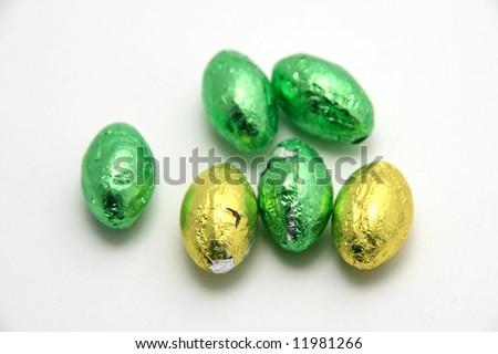 easter eggs over white background - stock photo