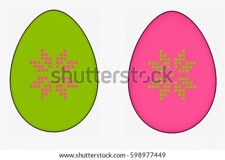 Easter Eggs Painted Pattern Cross Stitch