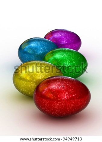 Easter eggs set. Colorful, 3D render on a white background - stock photo