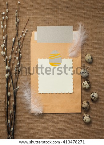 Easter eggs with card on the table