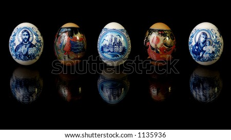 Easter eggs with colorful patterns Isolated on black background