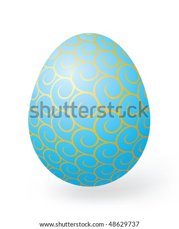 Easter eggs with decor elements on a white background - stock photo