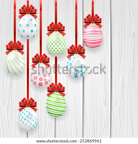 Easter eggs with red bow on wooden background, illustration. - stock photo