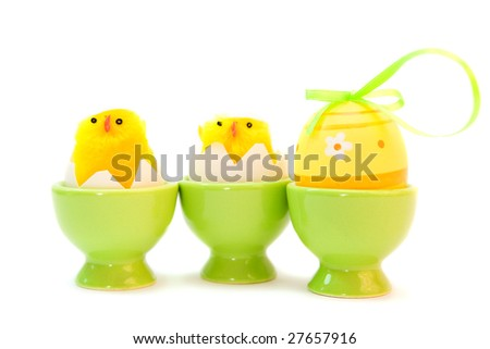 easter eggs with ribbons isolated on white