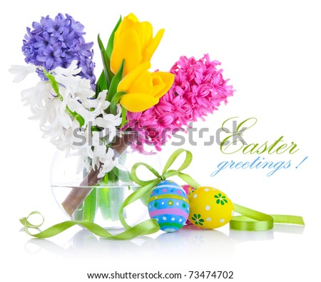 easter eggs with spring flowers isolated on white background - stock photo