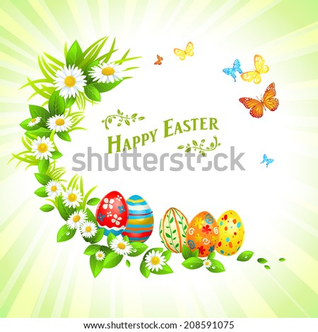 Easter festive background with flowers and eggs. Illustration with place for text. Raster version - stock photo