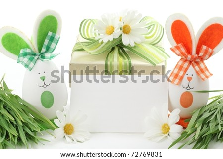Easter Gift Box and Rabbit with Blank Card - stock photo