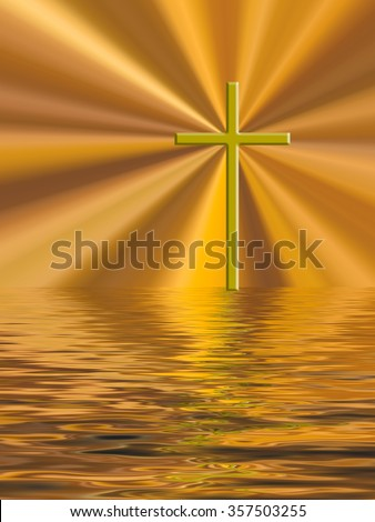 Easter glory gold cross over water.  Christian background.  Filtered photo composite image. - stock photo