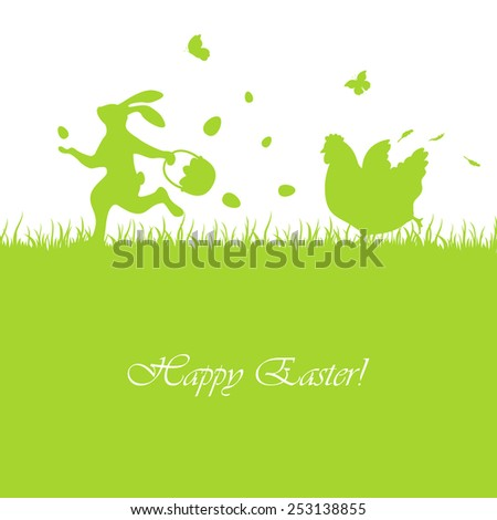 Easter green background with rabbit and hen, illustration. - stock photo