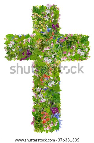 Easter green spring cross of Jesus in my heart concept. Collage from springs plants branches and flowers. Isolated. You can find all the full sized images in my portfolio. - stock photo