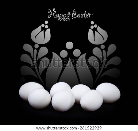 Easter greeting card design in black and white with floral spring elements - stock photo