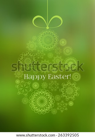 Easter greeting card with decorative egg on a blurred background. Raster version - stock photo