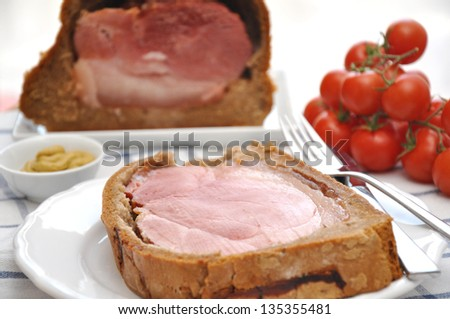 Easter Ham in Bread Dough - stock photo