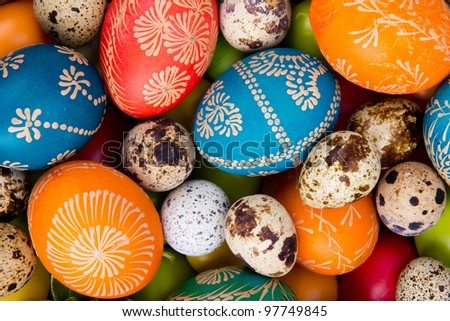 Easter hand painted colored eggs - stock photo