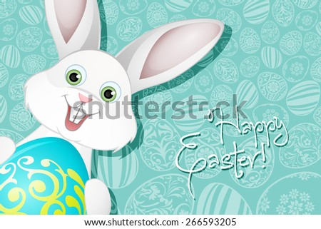 Easter Holiday Background with  Egg and Rabbit - stock photo