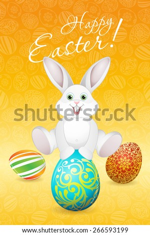 Easter Holiday Card with Eggs and Rabbit - stock photo