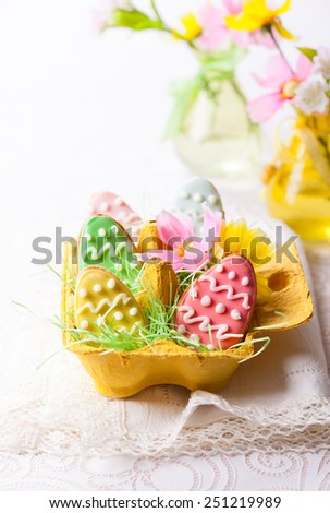 Easter homemade cookies decorated with icing - stock photo