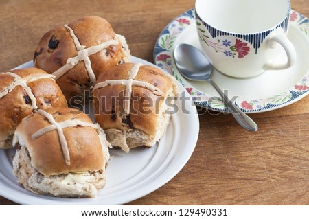 Easter hot cross buns - stock photo