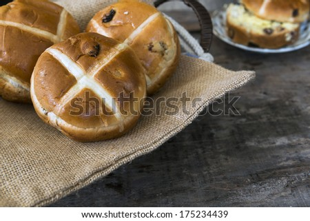 Easter hot cross buns - stock photo