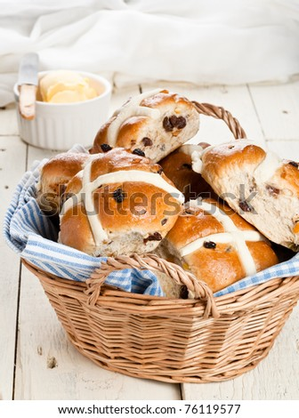 Easter Hot Cross Buns in a Basket - stock photo