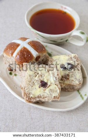 Easter Hot cross buns, selective focus - stock photo