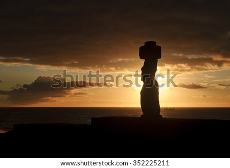 Easter Island (Chile) - old statues moai on the waterfront - stock photo