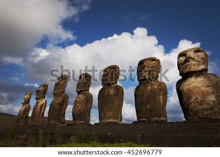 Easter Island of the Moai and foundation stone
