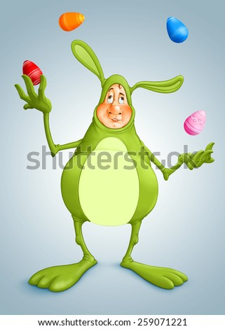 Easter juggler bunny with decorated eggs - stock photo