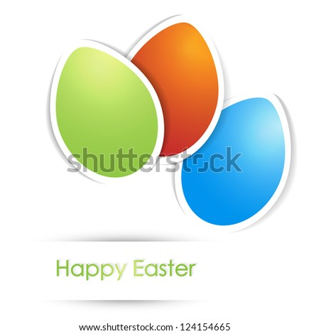 Easter Multicolored Eggs With Copyspace For your text Over White Background