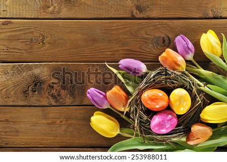 Easter nest with colored henâ??s eggs and tulips on old wooden board - stock photo