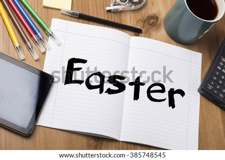 Easter - Note Pad With Text On Wooden Table - with office  tools