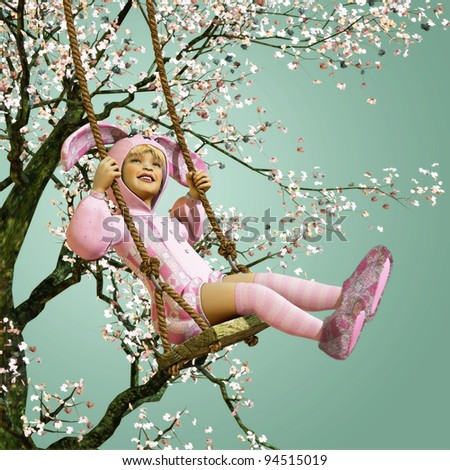 Easter on the Swing turquoise - stock photo
