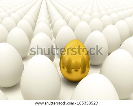 Easter or bussines 3d render illustration of golden egg arounded white eggs - stock photo