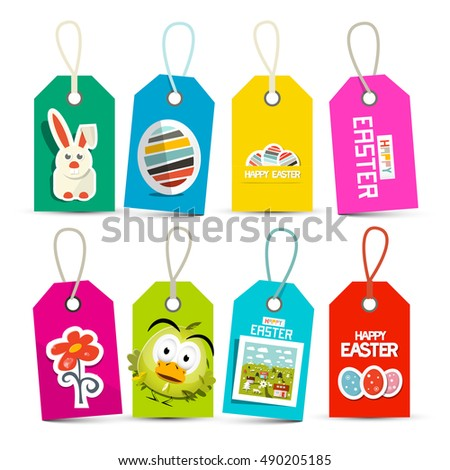 Easter Paper Labels Set Isolated on White Background