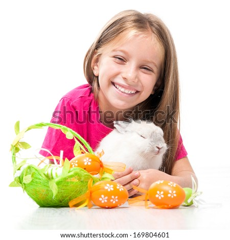 Easter photo. little cute girl and rabbit - stock photo