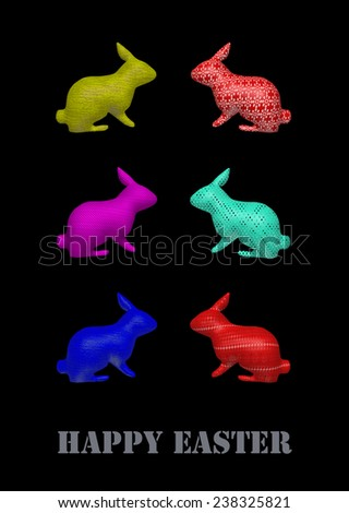"""easter postcard or decoration. Six colorful 3d bunnies on a black background and a grey script saying """"happy easter"""". - stock photo"""
