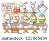 Easter rabbit factory producing dyed eggs - raster version of vector files - stock photo