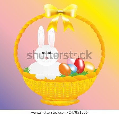 Easter bunny multicolour easter eggs stock vector 96465275 easter rabbit white hare green grass yellow bow pink nose basket negle Choice Image