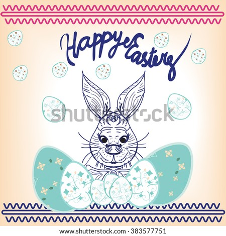 Easter RABBITand easter eggs.illustration