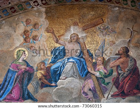 Easter resurrection mosaic - Italian - stock photo