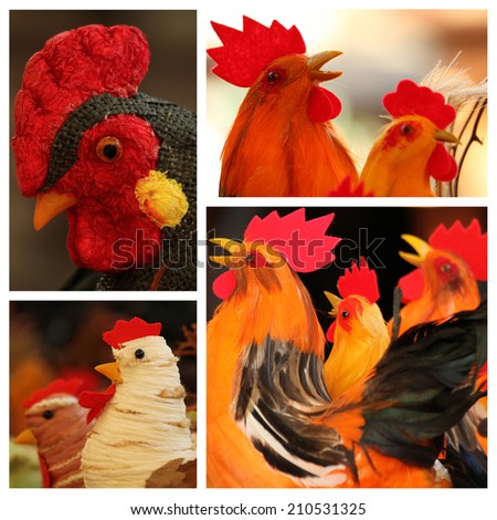 easter rooster collection, images from easter market    - stock photo