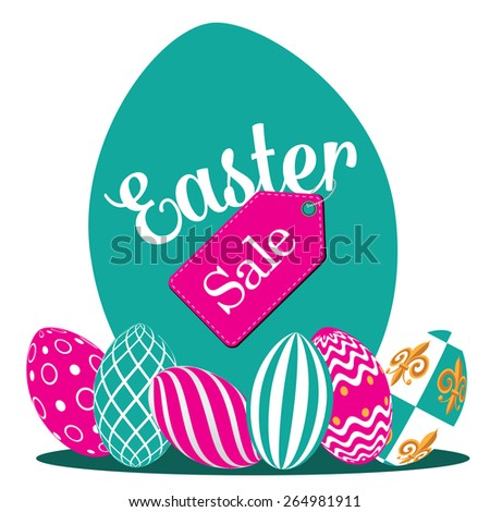 Easter sale flat design royalty free stock illustration for greeting card, ad, promotion, poster, flier, blog, article, marketing, signage, brochure - stock photo