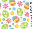 easter seamless pattern with stickers and sewing buttons - stock vector