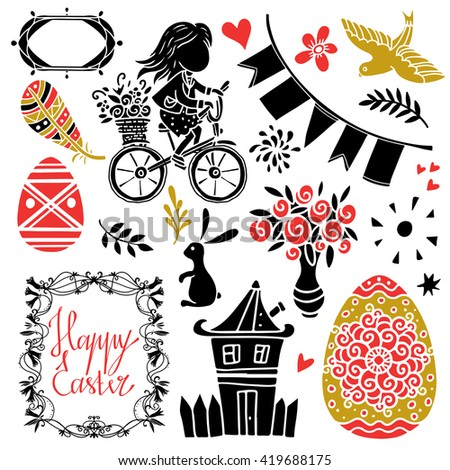 Easter set. Background with handwriting text, hand drawn eggs, flowers, bird, heart, feather, star, sun, leaves, rabbit, frames, house, flags, little girl on bicycle isolated silhouettes